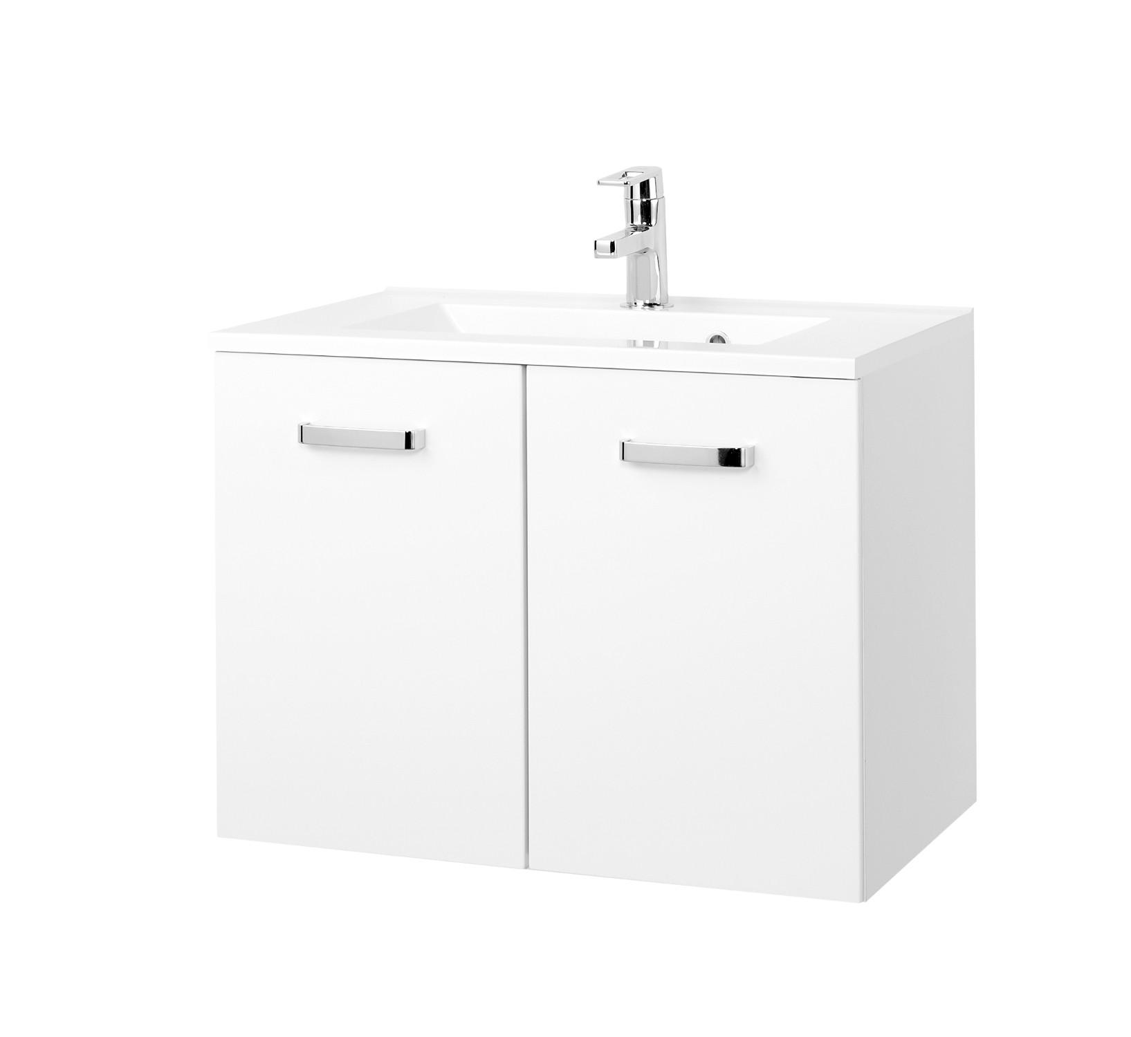 waschbecken mit unterschrank 2 t ren waschtischunterschrank 70 cm hochglanz wei ebay. Black Bedroom Furniture Sets. Home Design Ideas