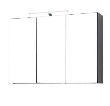 Bad Spiegelschrank BOLOGNA   3 Türig, Mit LED Aufbauleuchte   90 Cm
