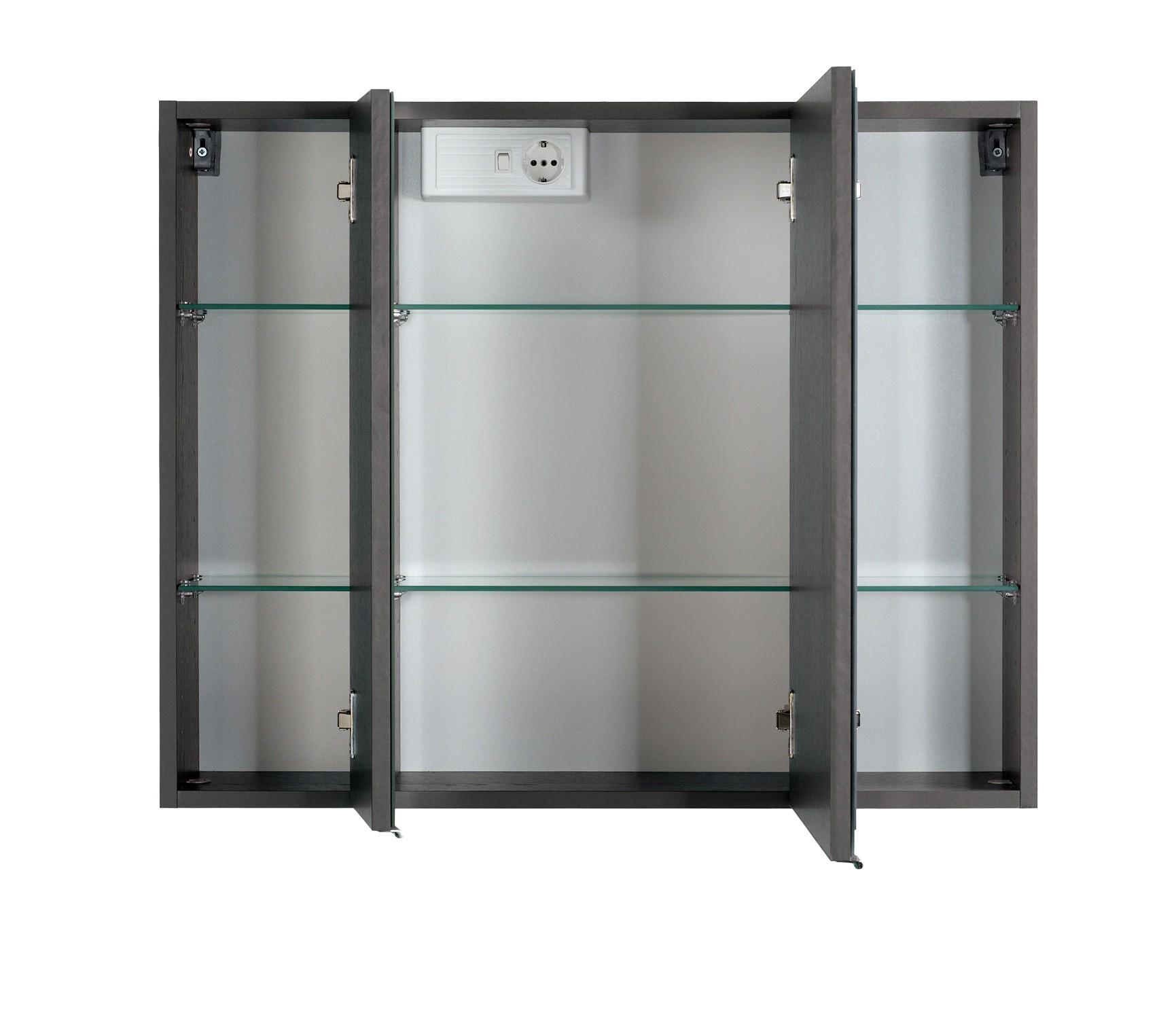 Wundervoll Spiegelschrank 3 Türig Referenz Von Bad-spiegelschrank - 3-türig, Mit Led-aufbauleuchte - 80