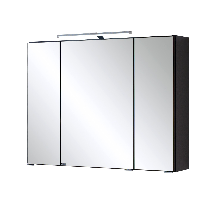 bad spiegelschrank 3 t rig mit led aufbauleuchte 80. Black Bedroom Furniture Sets. Home Design Ideas