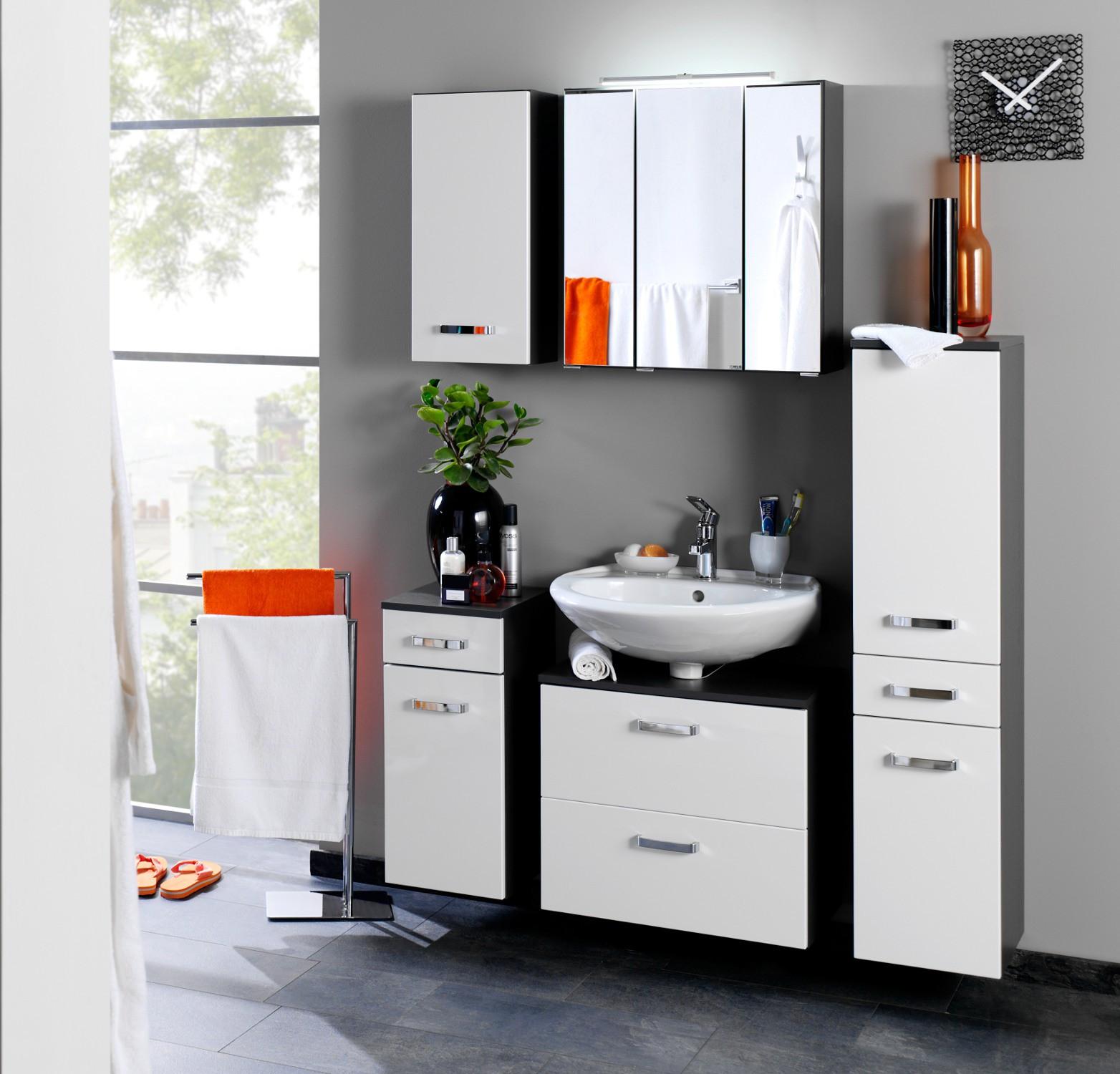 bad spiegelschrank bologna 3 t rig mit led aufbauleuchte 70 cm breit graphitgrau bad. Black Bedroom Furniture Sets. Home Design Ideas