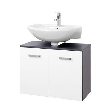 Bad-Waschbeckenunterschrank BOLOGNA - 2-türig - 70 cm breit - Hochglanz Weiß / Graphitgrau