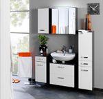 Bad-Waschtisch BOLOGNA - 2 Auszüge - 100 cm breit - Hochglanz Weiß / Graphitgrau