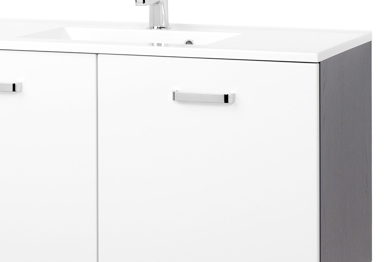 bad waschtisch bologna 2 t rig 100 cm breit hochglanz wei graphitgrau bad waschtische. Black Bedroom Furniture Sets. Home Design Ideas