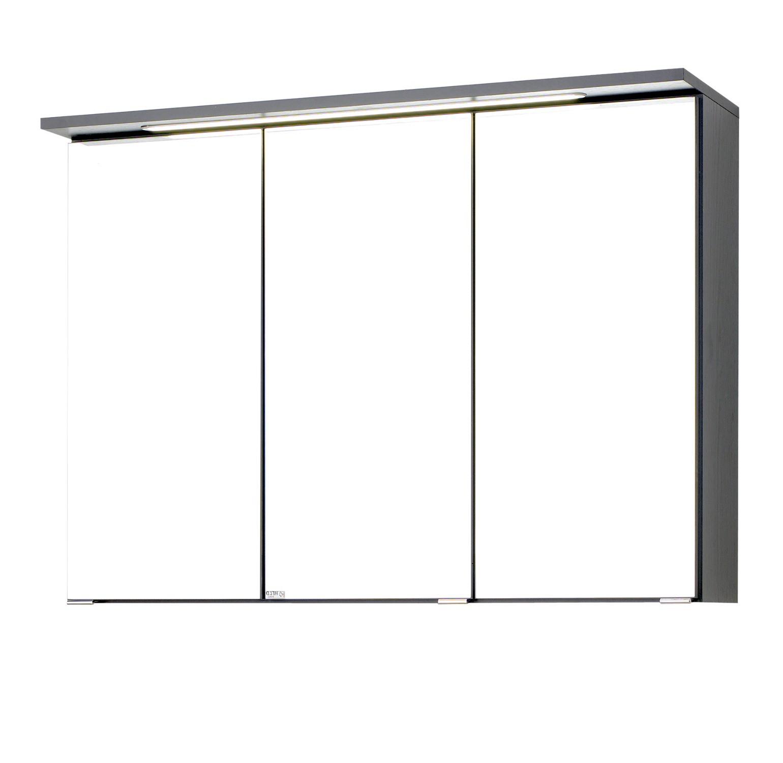 bad spiegelschrank bologna 3 t rig mit led lichtleiste 90 cm breit graphitgrau bad. Black Bedroom Furniture Sets. Home Design Ideas
