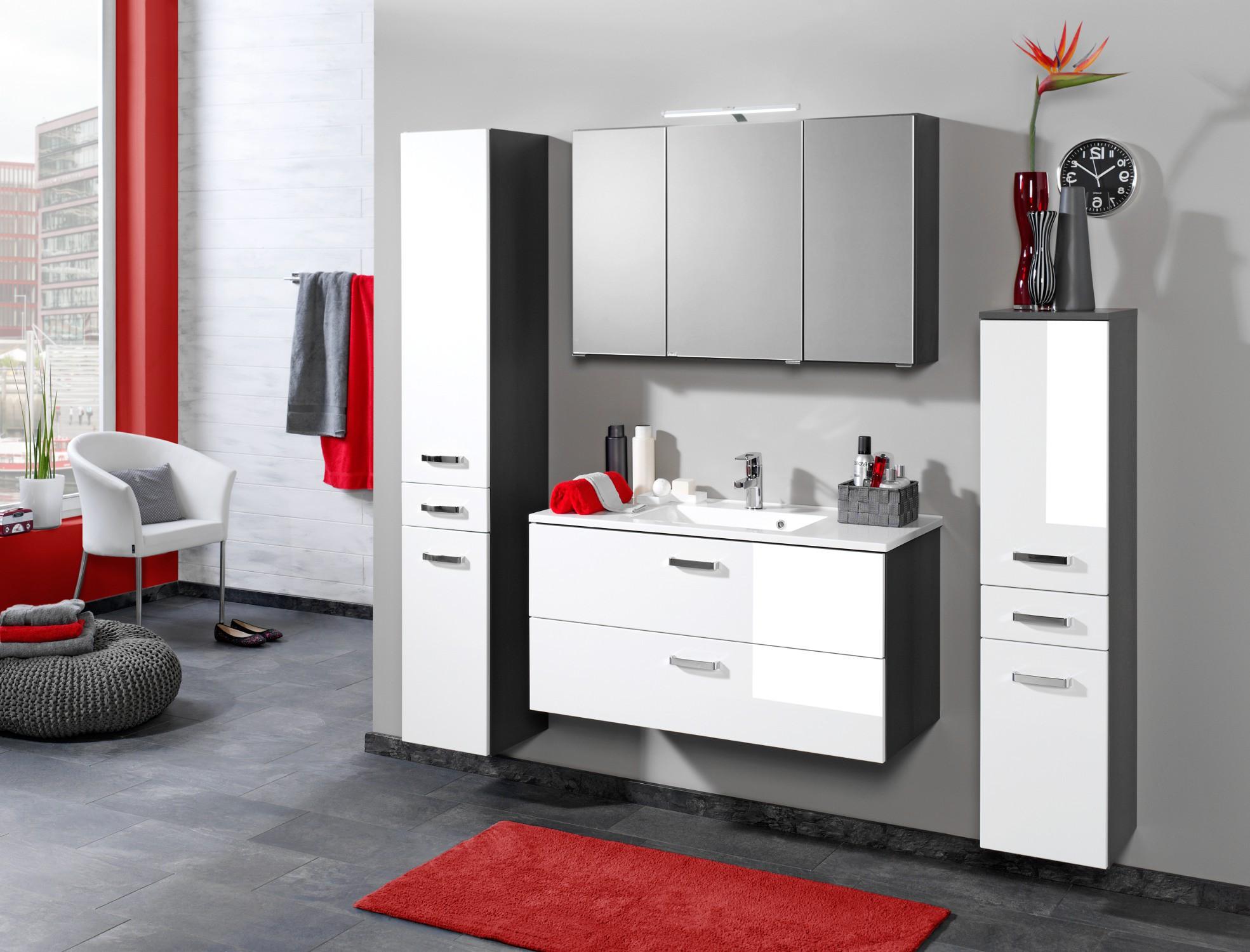 bad waschtisch bologna 2 ausz ge 80 cm breit hochglanz wei graphitgrau bad waschtische. Black Bedroom Furniture Sets. Home Design Ideas