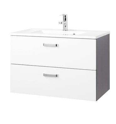 Bad-Waschtisch BOLOGNA - 2 Auszüge - 80 cm breit - Hochglanz Weiß / Graphitgrau