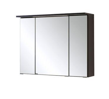 Bad-Spiegelschrank BOLOGNA - 3-türig, mit LED-Lichtleiste - 80 cm breit - Graphitgrau