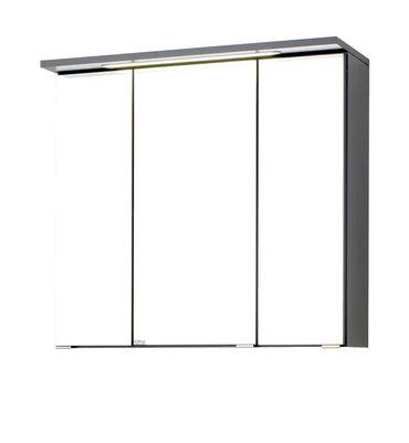 Bad-Spiegelschrank BOLOGNA - 3-türig, mit LED-Lichtleiste - 70 cm breit - Graphitgrau