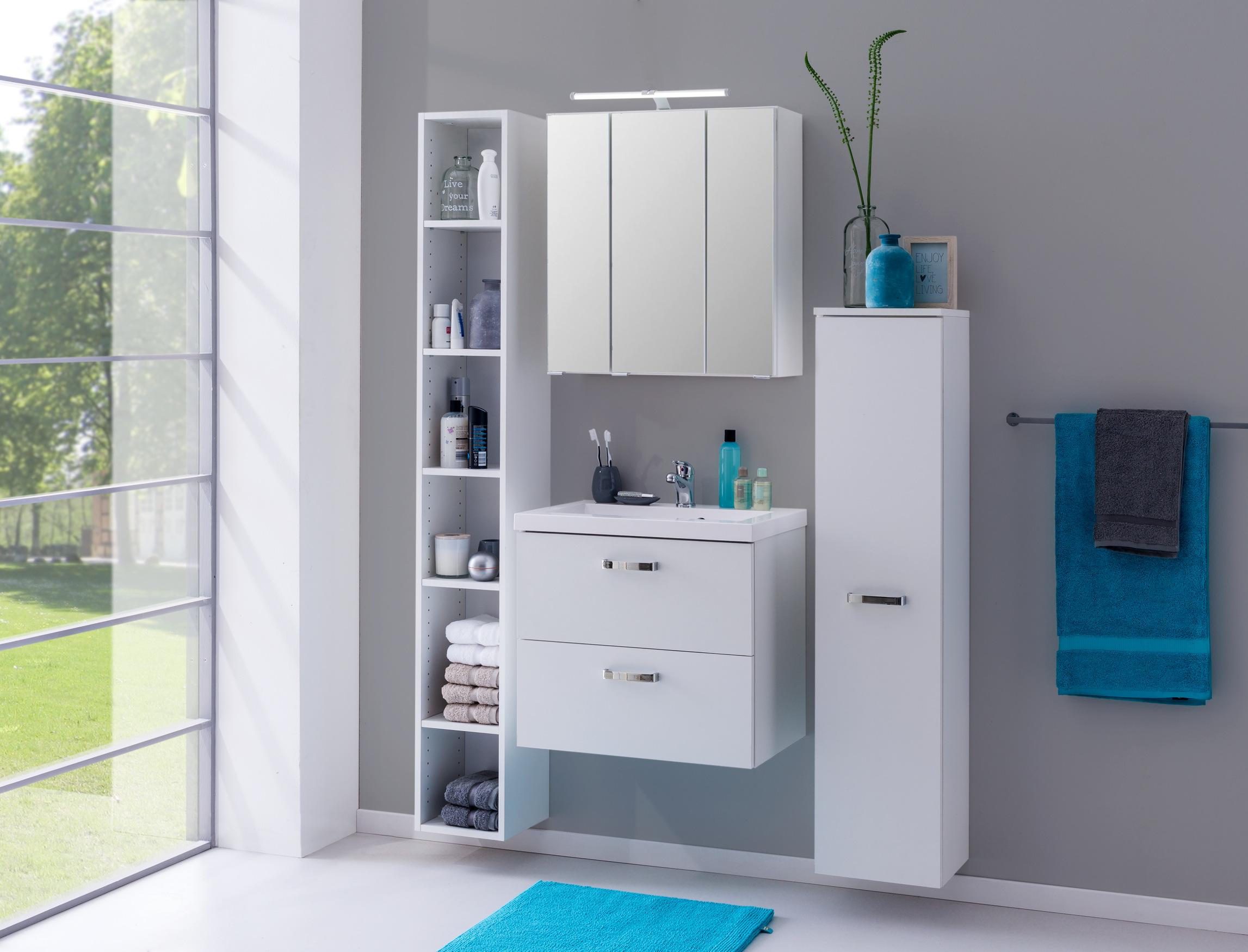 regal montreal badezimmer h ngeregal badregal mit 6 f chern 25 cm weiss ebay. Black Bedroom Furniture Sets. Home Design Ideas