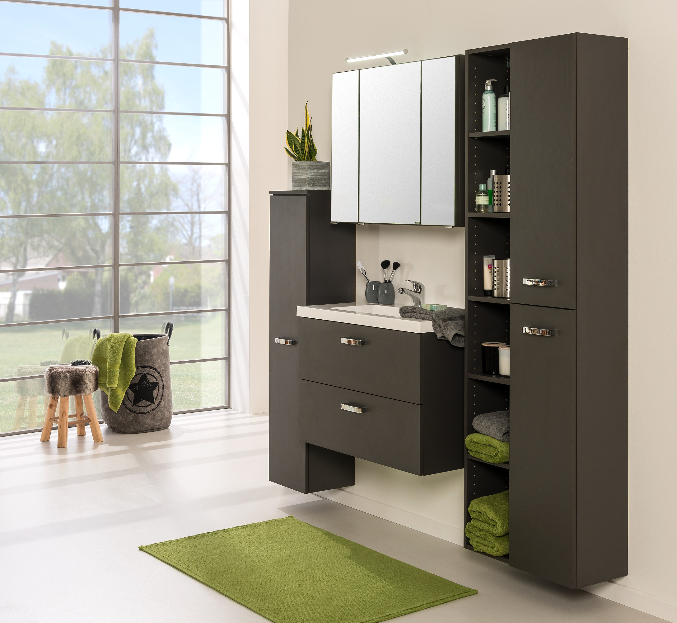 bad regal montreal 6 f cher 25 cm breit grau bad bad. Black Bedroom Furniture Sets. Home Design Ideas