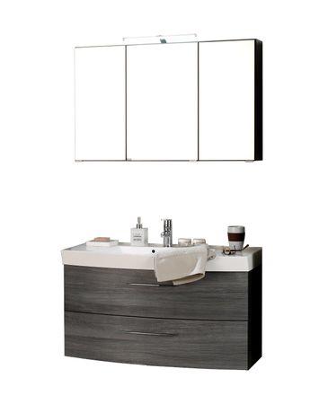 Badmöbel-Set FLORIDA - 4-teilig - 100 cm breit - 2 Auszüge - Eiche Rauchsilber