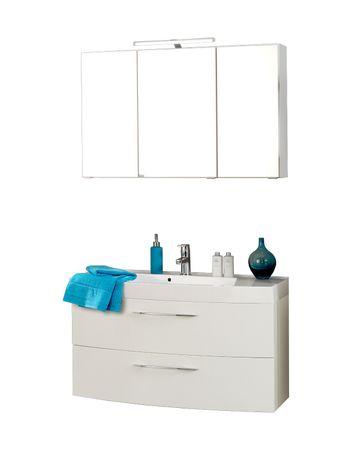 Badmöbel-Set FLORIDA - 4-teilig - 100 cm breit - 2 Auszüge - Hochglanz Weiß