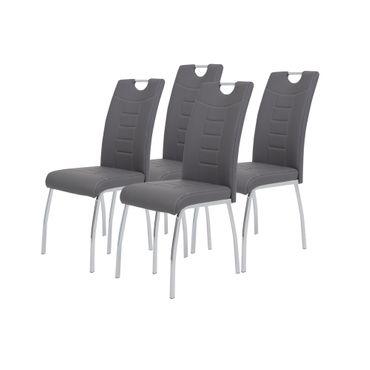 Esszimmerstuhl ANDREA - 4er Set - Kunstleder - 43 cm breit - Grau