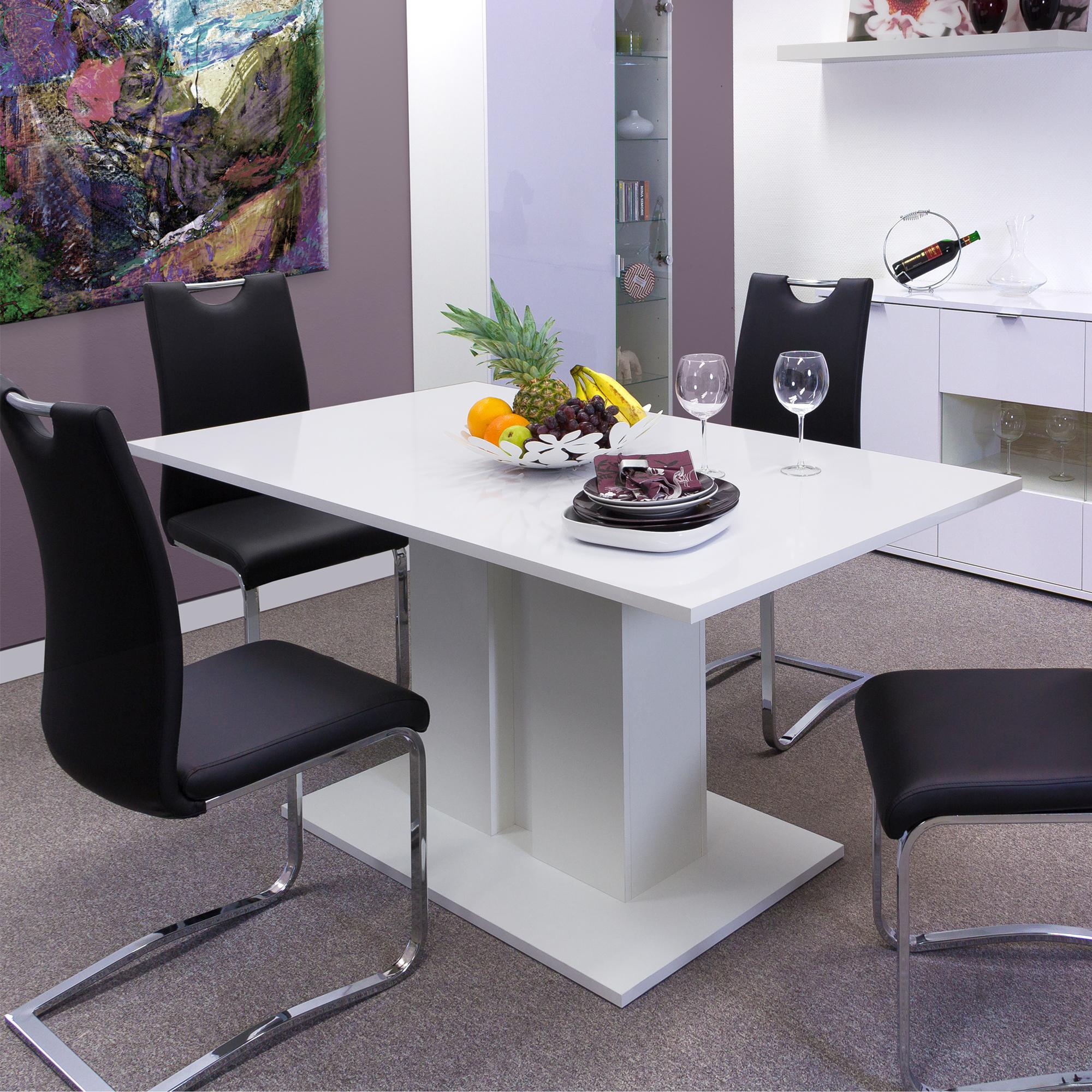 esstisch marie tischplatte 160 x 80 cm hochglanz wei wohnen esstische. Black Bedroom Furniture Sets. Home Design Ideas
