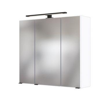 Bad-Spiegelschrank LUZERN - 3-türig, mit Beleuchtung - 70 cm breit - Weiß
