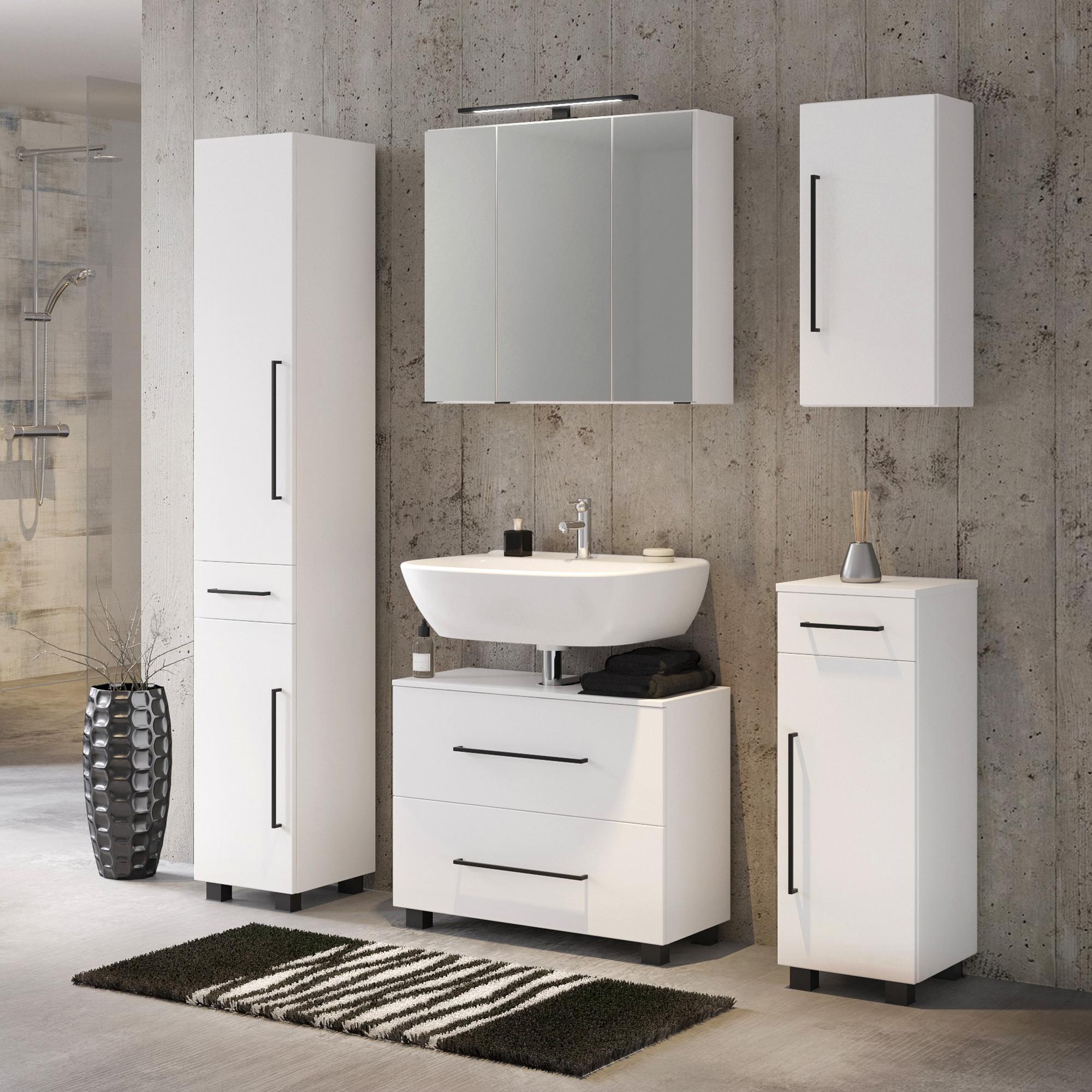 Bad-Waschbeckenschrank LUZERN - 166 Auszug, 166 Klappe - 16 cm breit - Weiß Matt