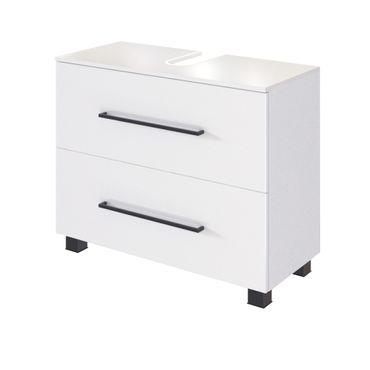 Bad-Waschbeckenschrank LUZERN - 1 Auszug, 1 Klappe - 70 cm breit - Weiß Matt