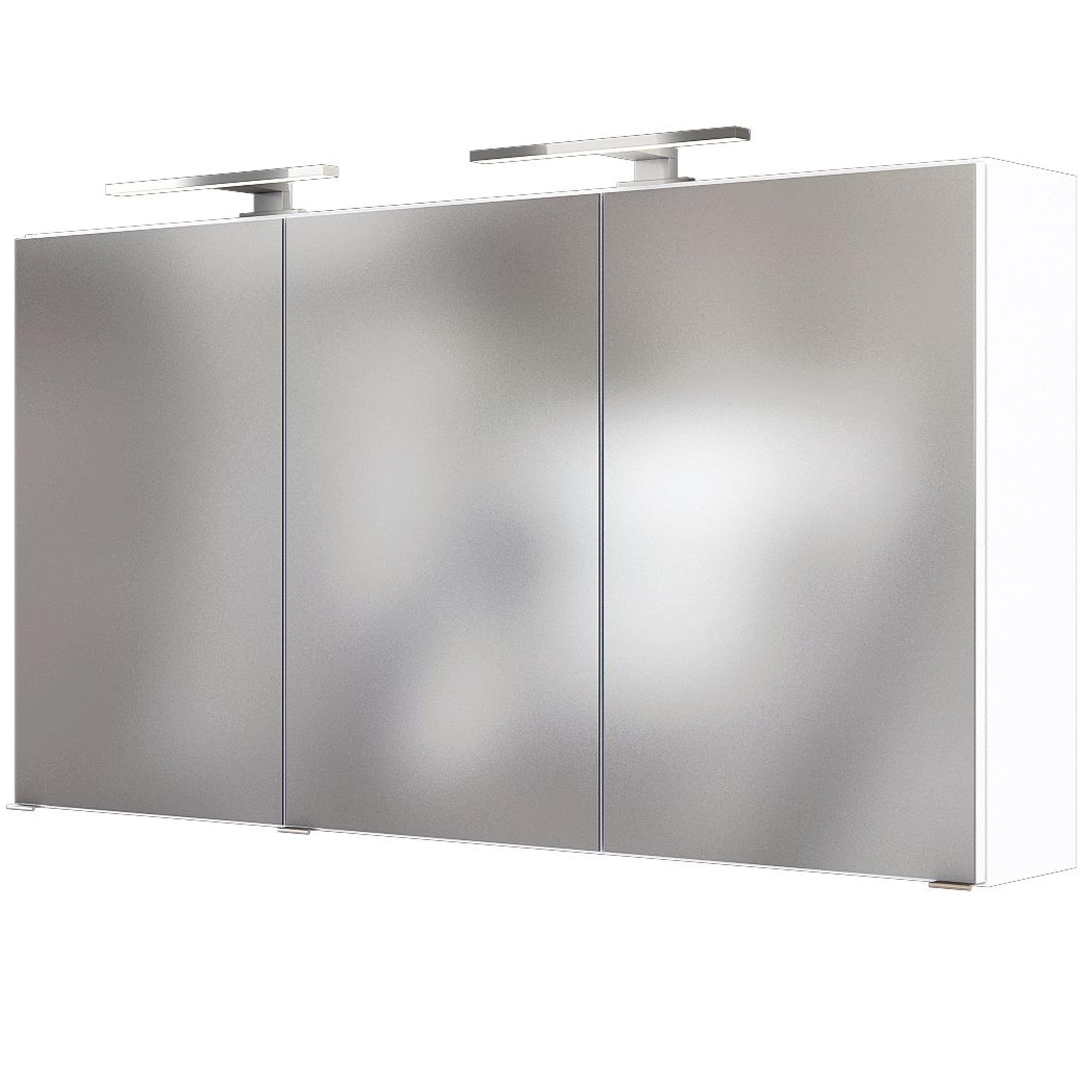 Badezimmerspiegel Lampe.Spiegelschrank Badspiegel Badezimmerspiegel 3 Turen Led Lampe 120 Cm Weiss Ebay