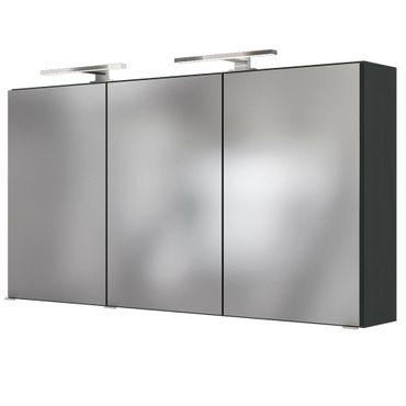 Bad-Spiegelschrank BAABE - 3-türig, mit Beleuchtung - 120 cm breit - Grau Matt