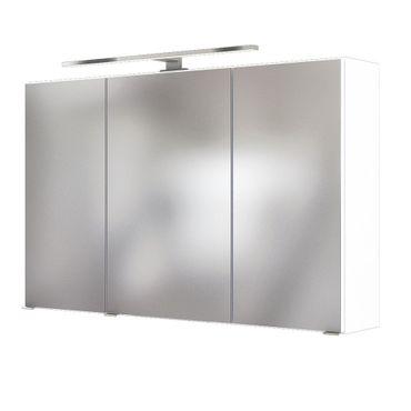 Bad-Spiegelschrank BAABE - 3-türig, mit Beleuchtung - 100 cm breit - Weiß Matt