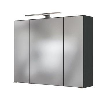 Bad-Spiegelschrank BAABE - 3-türig, mit Beleuchtung - 80 cm breit - Grau Matt