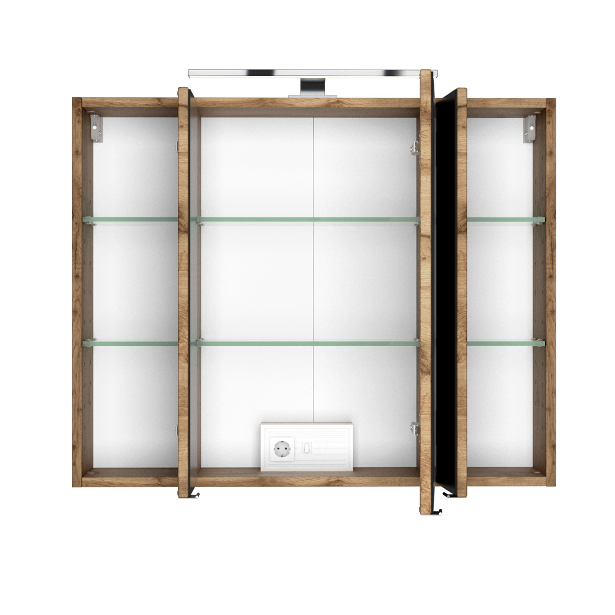 Bad-Spiegelschrank - 17-türig, mit Beleuchtung - 17 cm breit - Wotan Eiche