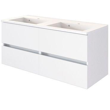 Bad-Waschtisch BAABE mit Doppelbecken - 4 Auszüge - 120 cm breit - Weiß Matt