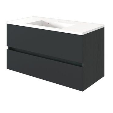 Bad-Waschtisch BAABE - 2 Auszüge - 100 cm breit - Grau Matt
