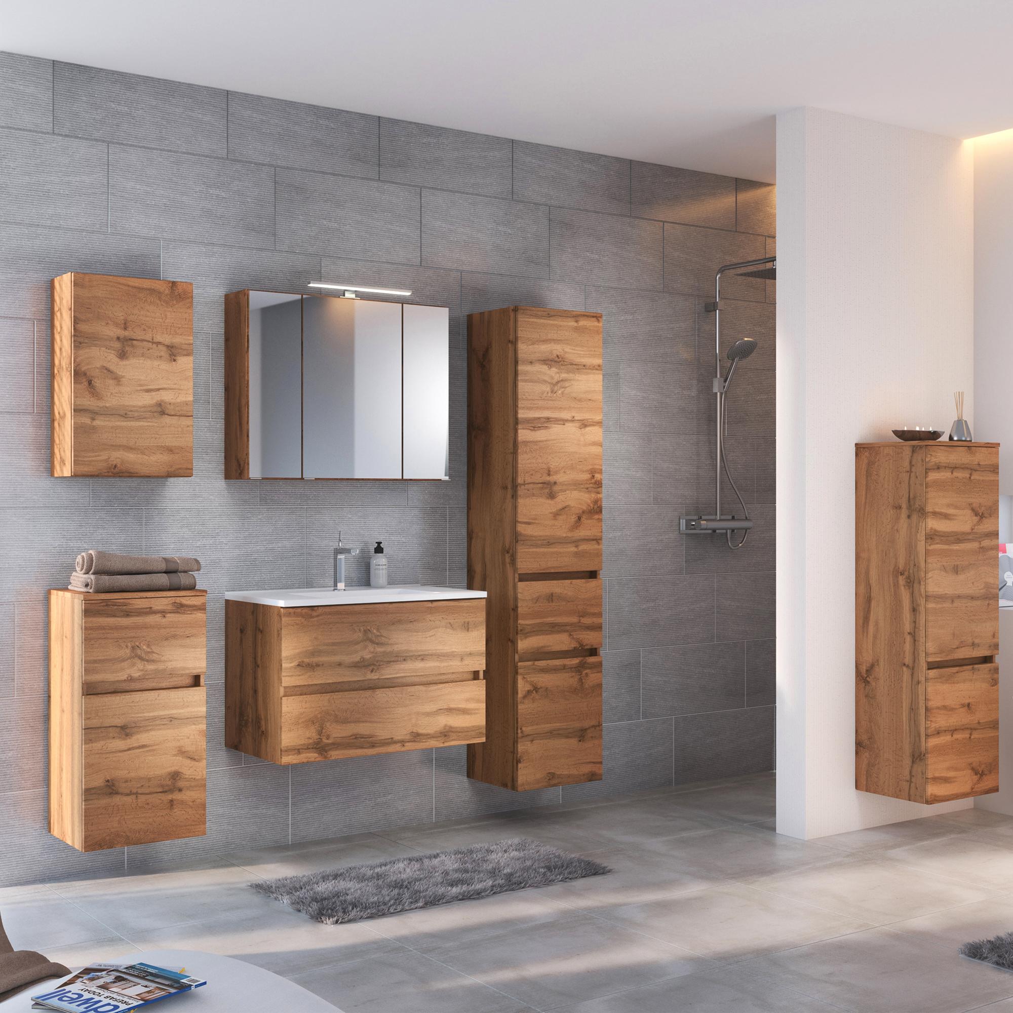 Badezimmermöbel Hochschrank Wotaneiche Bad Midischrank Seitenschrank Highboard