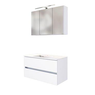 Badmöbel-Set BAABE - mit Waschtisch - 4-teilig - 100 cm breit - Weiß Matt
