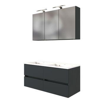 Badmöbel-Set BAABE - mit Waschtisch - 4-teilig - 120 cm breit - Grau Matt