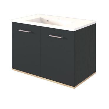 Bad-Waschtisch LYND - 2-türig - 80 cm breit - Grau Matt / Buche