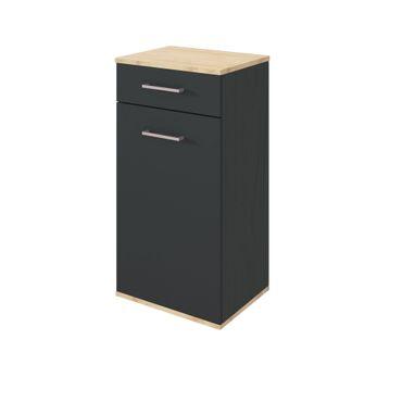 Bad-Unterschrank LYND - 1-türig, 1 Schublade - 40 cm breit - Grau Matt / Buche