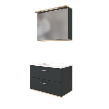 Badmöbel-Set LYND mit Waschtisch - 2 Auszüge - 80 cm breit - Grau Matt / Buche