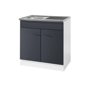 Küchen-Spülenschrank - 2-türig - Breite 80 cm, Tiefe 60 cm - Anthrazit
