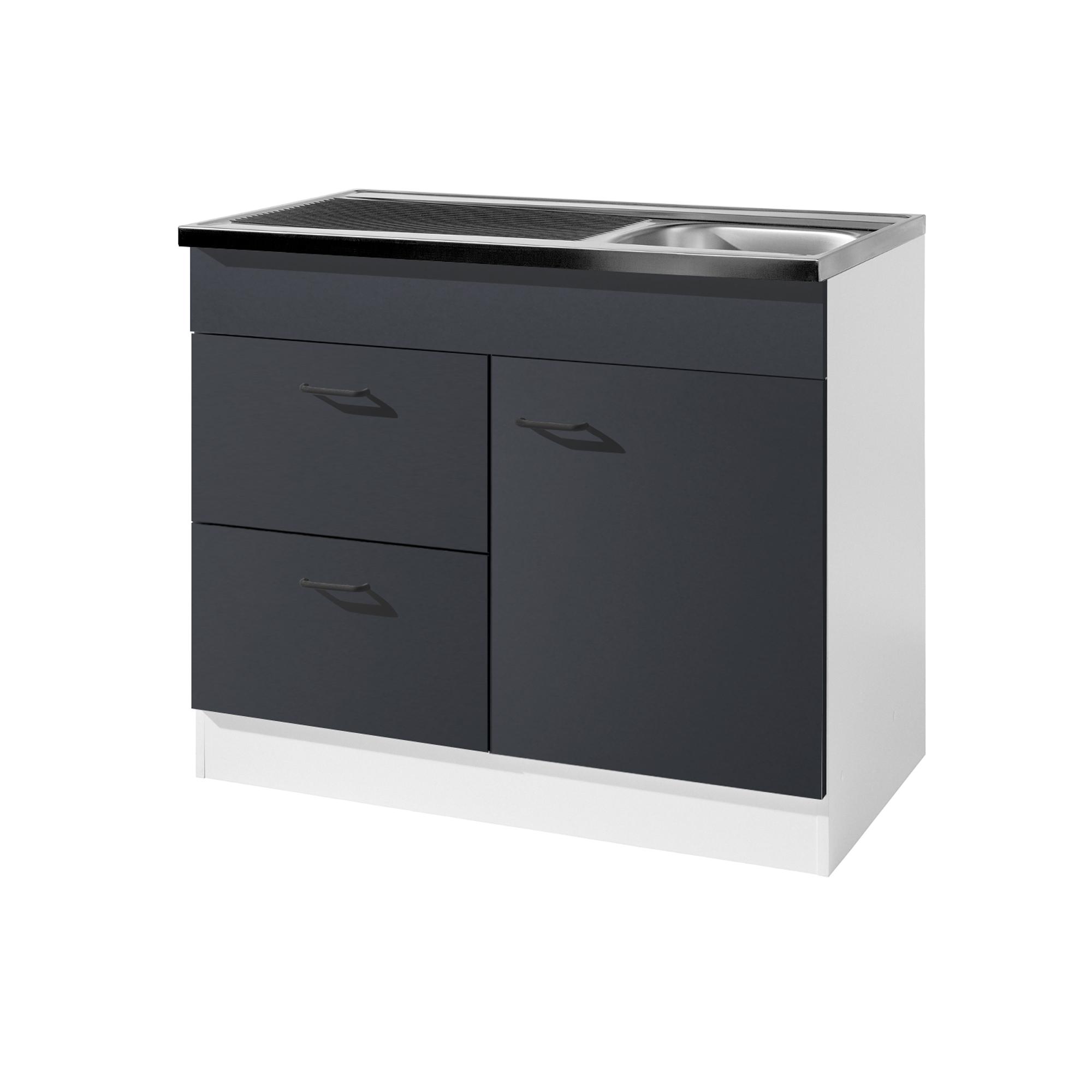 k chen sp lenschrank 1 t rig 2 ausz ge breite 100 cm tiefe 50 cm anthrazit k che. Black Bedroom Furniture Sets. Home Design Ideas