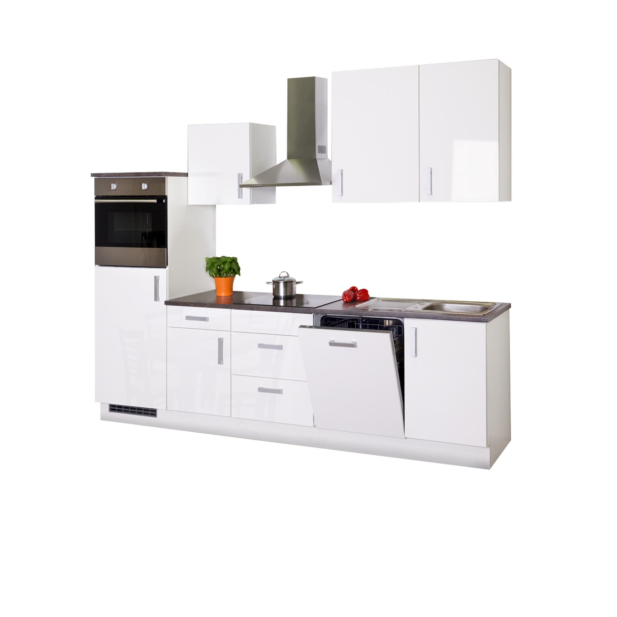 Details zu Küchenzeile mit Elektrogeräten Küchenblock Einbauküche 280 Küche  hochglanz weiss