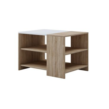 Couchtisch MILA - 2 Ablageböden - Tischplatte 70 x 50 cm - Eiche Sonoma / Weiß