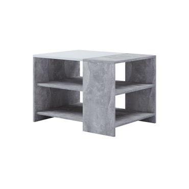 Couchtisch MILA - 2 Ablageböden - Tischplatte 70 x 50 cm - Betongrau / Weiß