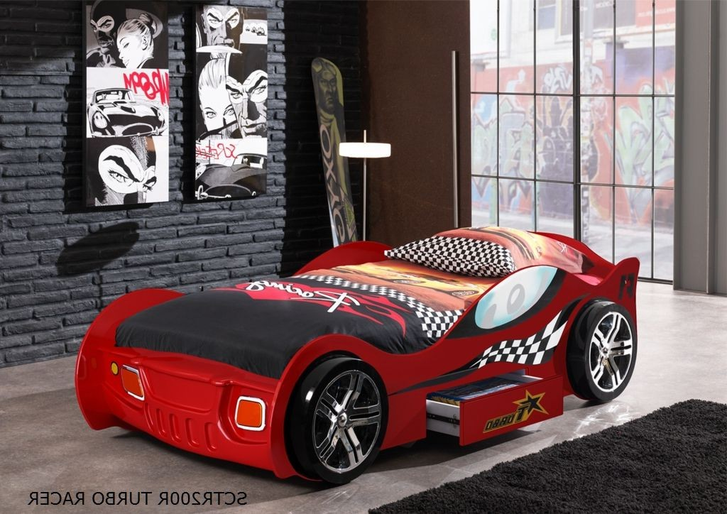 kinderbett turbo racing autobett rennautobett mit lattenrost 90 x 200 rot ebay. Black Bedroom Furniture Sets. Home Design Ideas