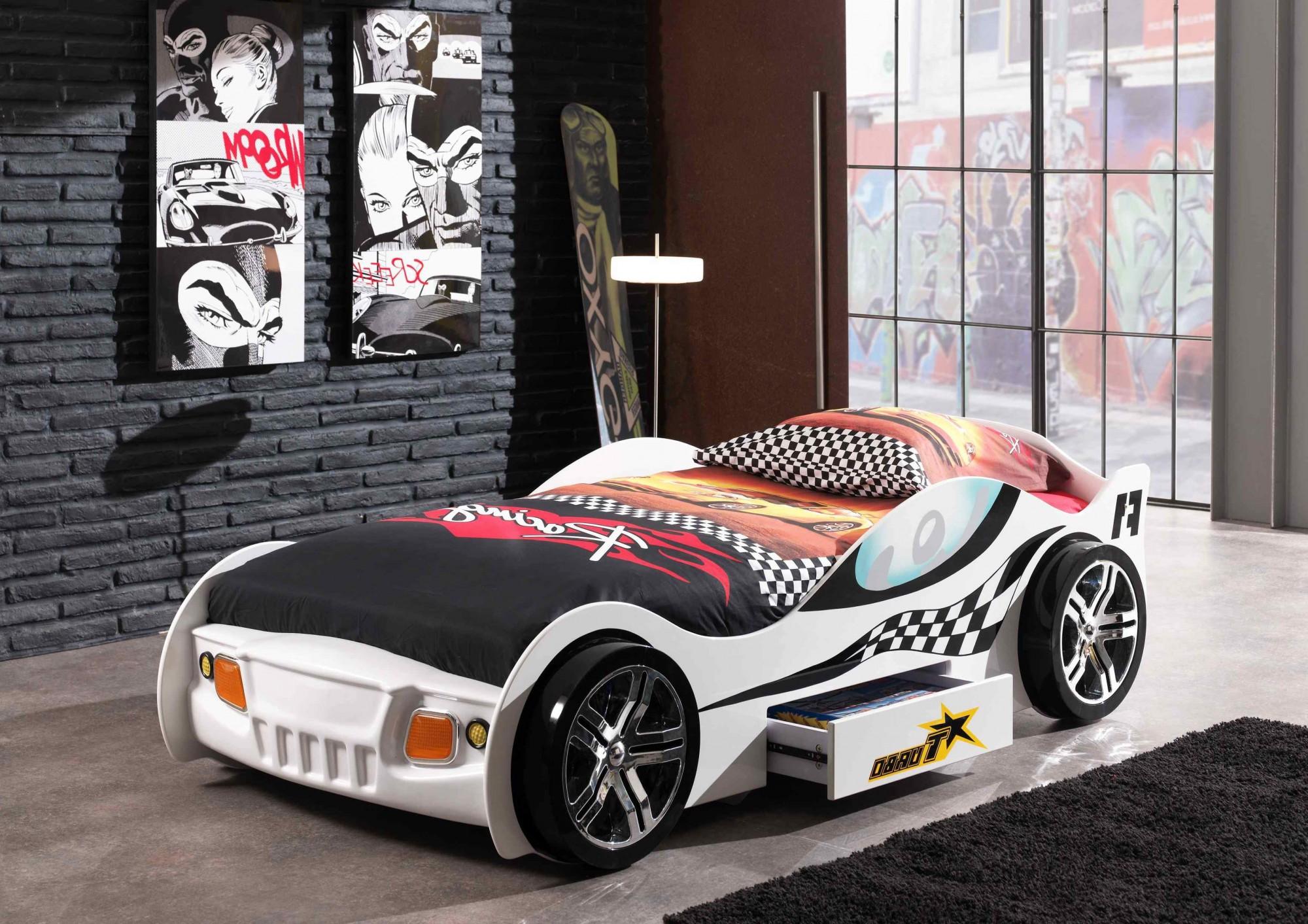 Details zu Kinderbett TURBO RACING Autobett Rennautobett mit Lattenrost 90  x 200 cm weiss