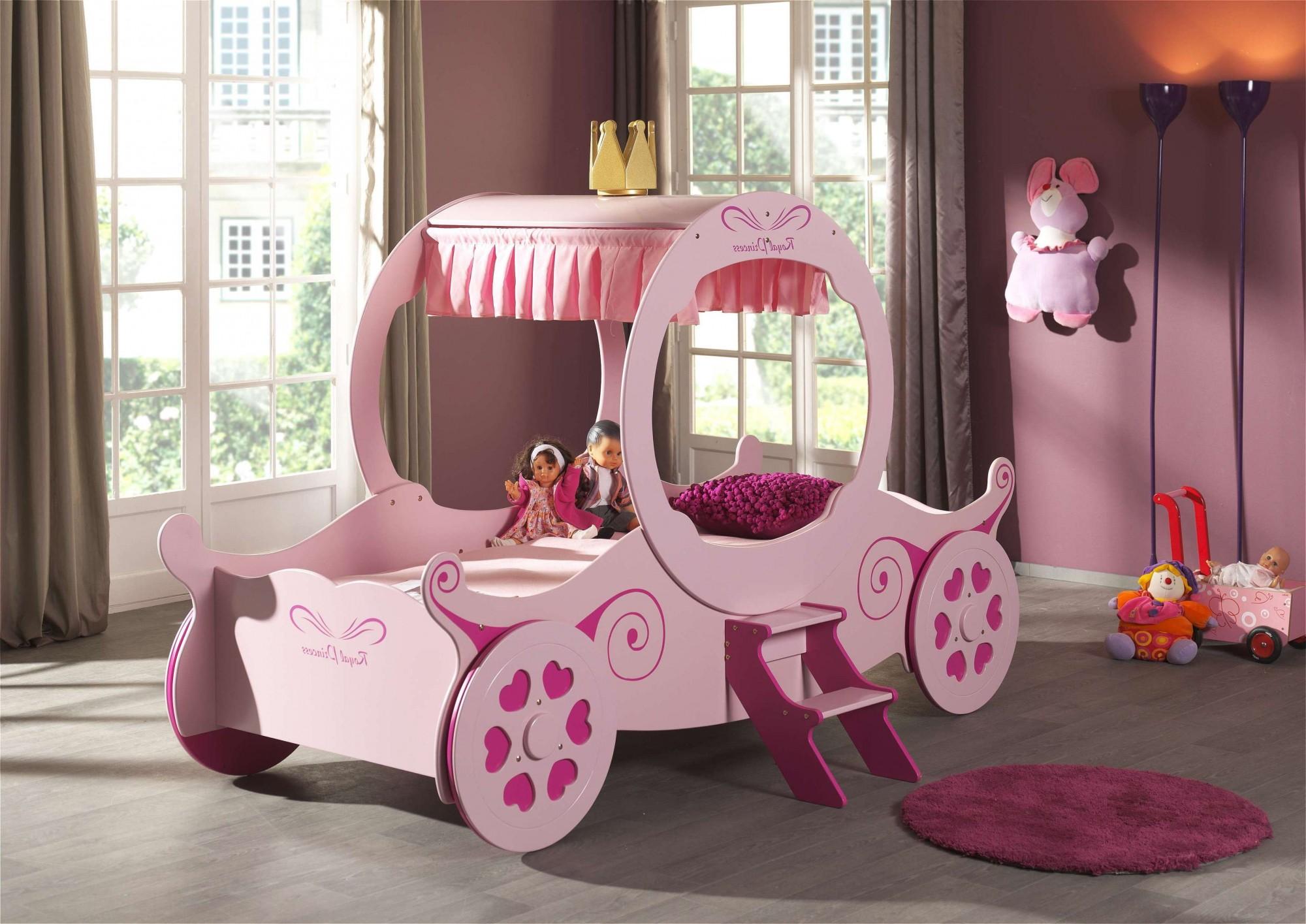 Details zu Kutschenbett ROYAL PRINCESS Kinderbett Mädchenbett + Lattenrost  90 x 200 cm rosa