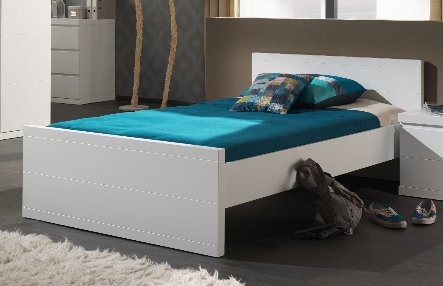 einzelbett lara kinderbett jugendbett mit lattenrost 120 x 200 weiss 4061419027473 ebay. Black Bedroom Furniture Sets. Home Design Ideas