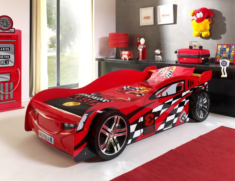 kinderbett night speeder autobett rennautobett mit lattenrost 90 x 200 rot ebay. Black Bedroom Furniture Sets. Home Design Ideas