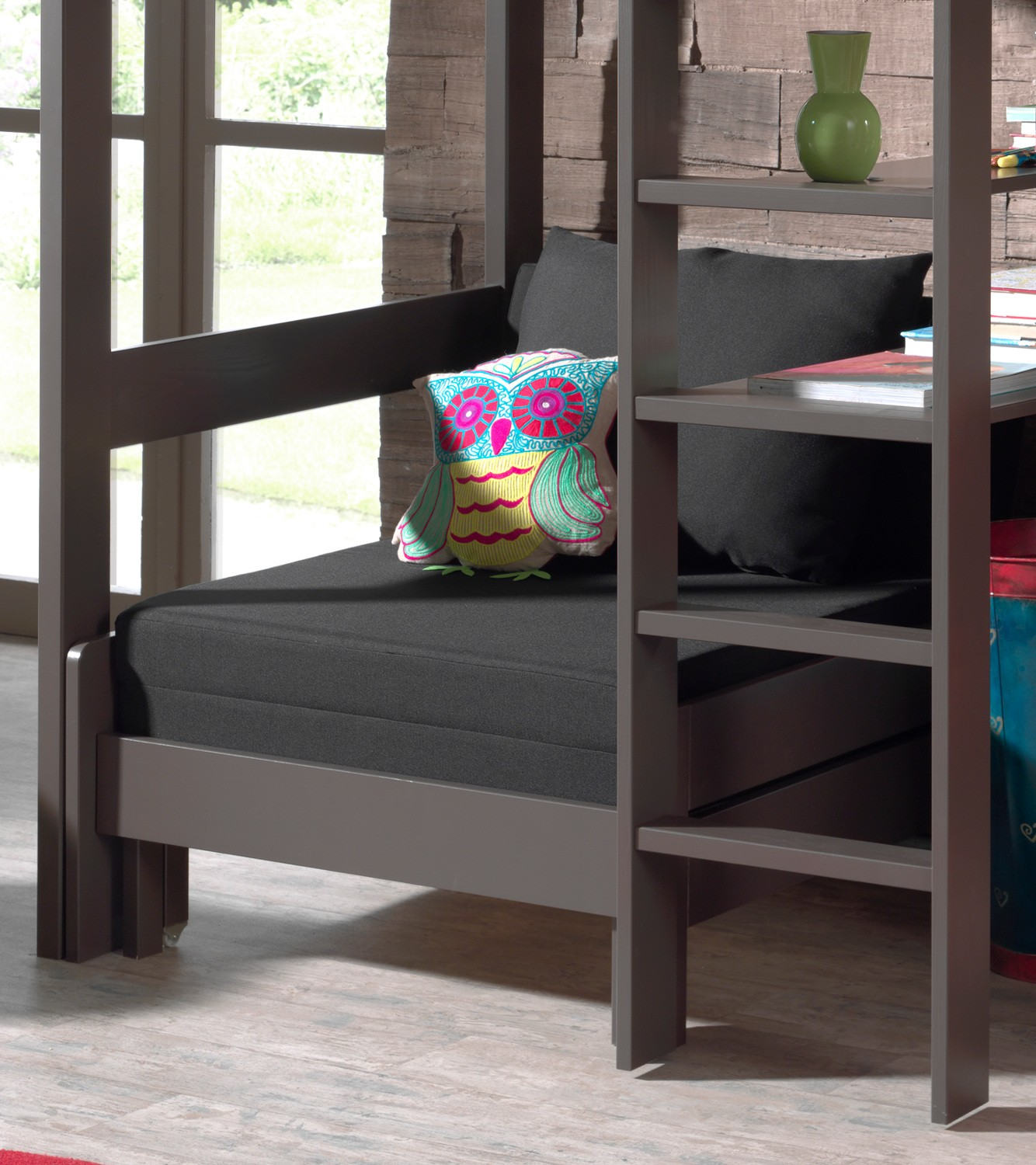 hochbett pino kinderbett multifunktionsbett 90 x 200 cm kiefer anthrazit ebay. Black Bedroom Furniture Sets. Home Design Ideas