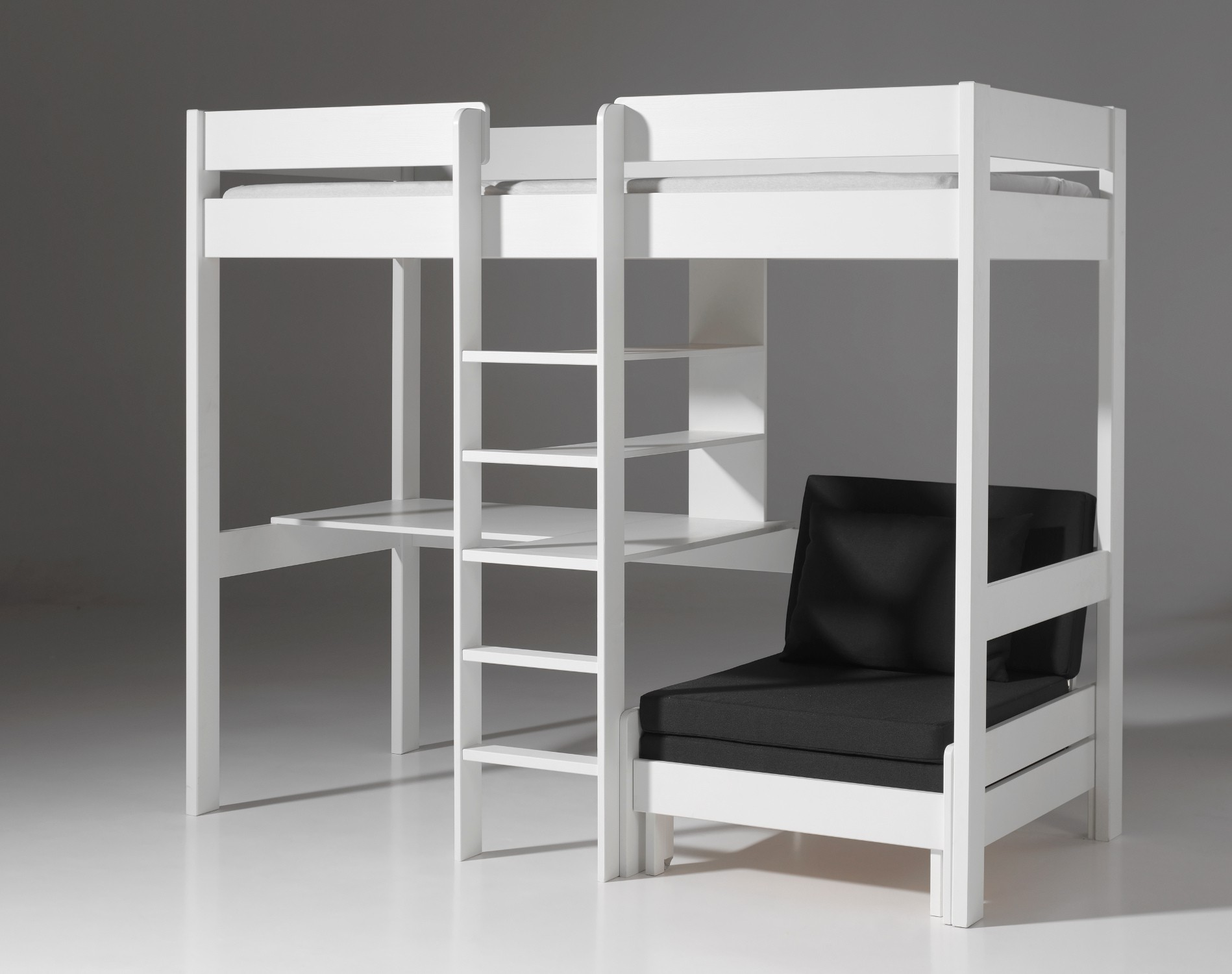 hochbett pino kinderbett multifunktionsbett 90 x 200 cm kiefer weiss 5420070214490 ebay. Black Bedroom Furniture Sets. Home Design Ideas