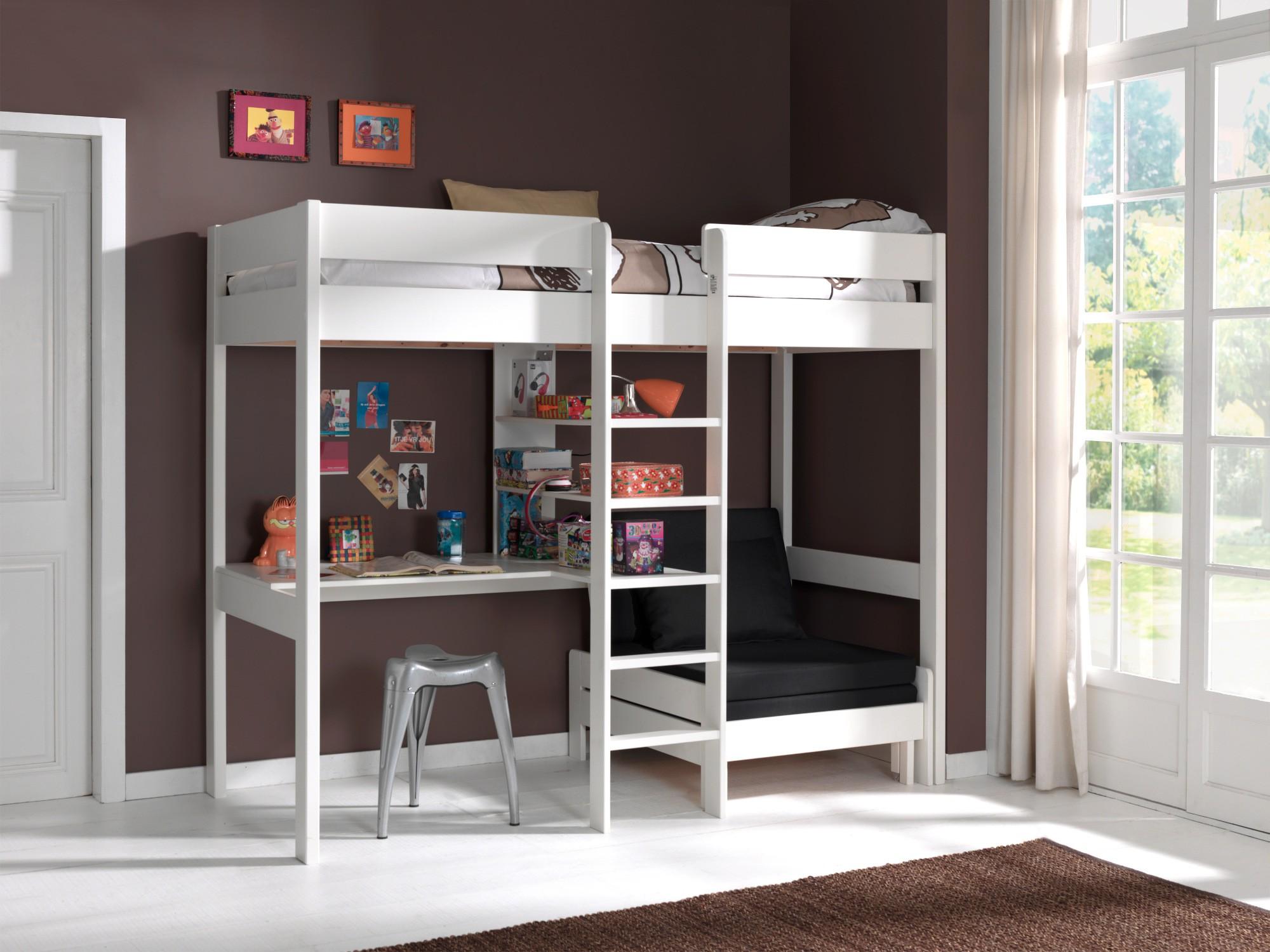 Multifunktions Hochbett hochbett pino mit schlafsessel und schreibplatte liegefläche 90 x