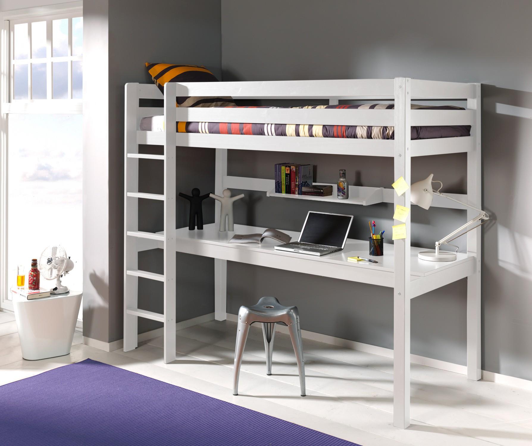 hochbett pino mit schreibtisch liegefl che 90 x 200 cm. Black Bedroom Furniture Sets. Home Design Ideas