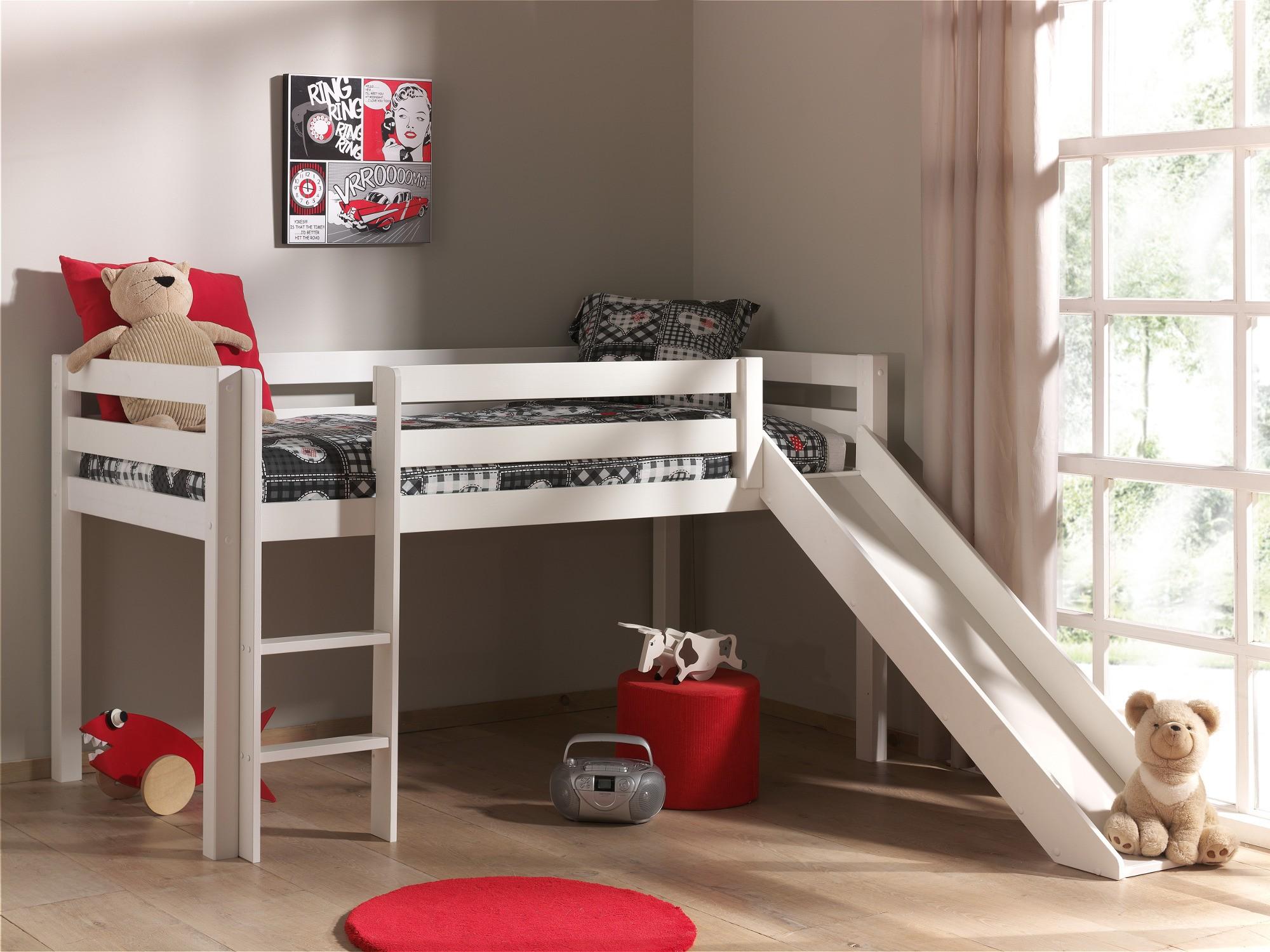 Etagenbett Kinder Rutsche : Hochbett pino mit rutsche liegefläche cm kiefer weiß